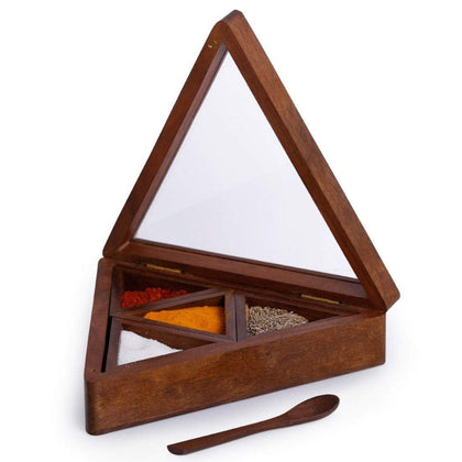 Handcrafted Triangle Wooden Spice Box