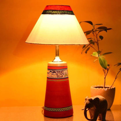 Madhubani Terracotta Table Lamp With Shade