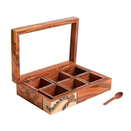 Sheesham Wooden Spice Box With Container and Spoon