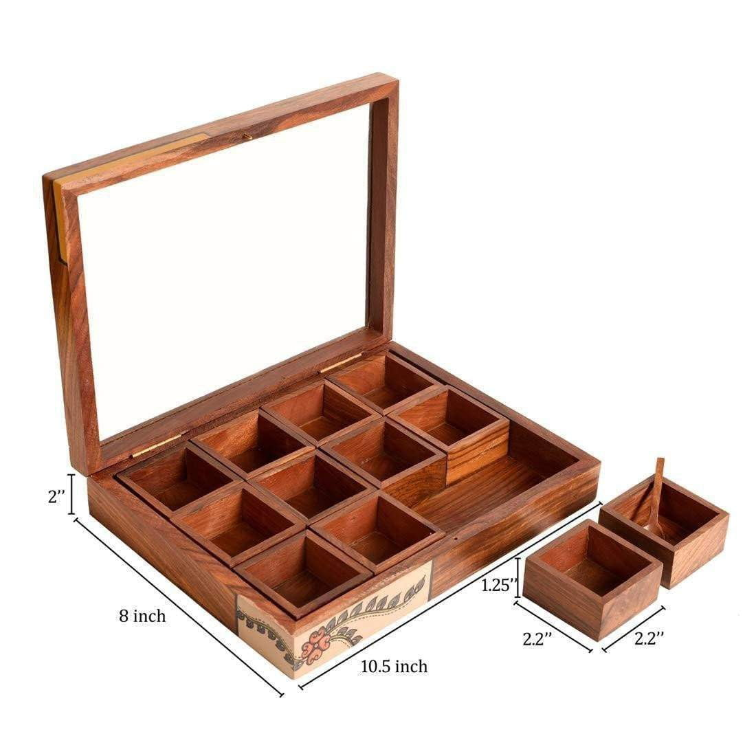 Handcrafted Wooden Spice Box With 12 Container And Spoon