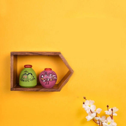 Mustard Purple Wall Mounted Wooden Frame With Decorative Terracotta Pots.