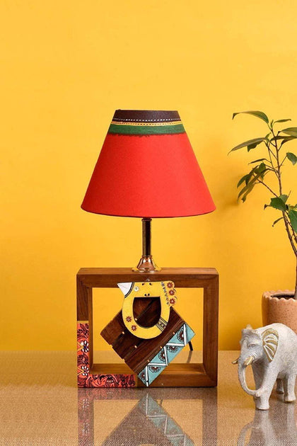 Madhubani Wooden Table Lamp With Shade