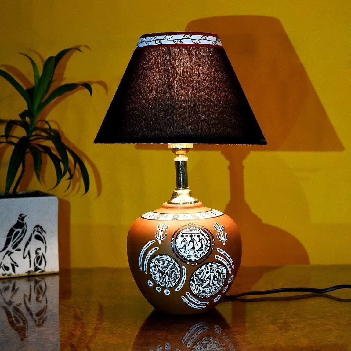 Warli Art Terracotta Table Lamp With Shade