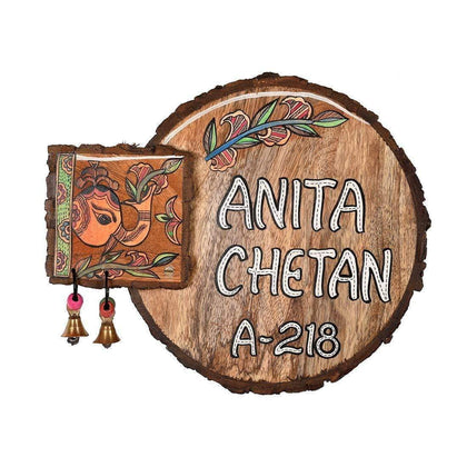 Madhubani Wooden Custom Name Plates For Door
