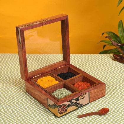 Handmade Wooden Spice Box With Spoon And Four Container