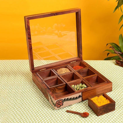 Handcrafted Wooden Spice Storage Box With Spoon And Container