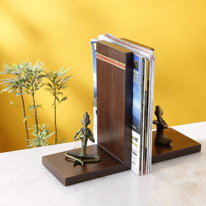 Engraved Bookend In Teak Wood With Brass Figurine