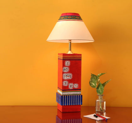 Hand Crafted Red Wooden Table Lamp With Shade