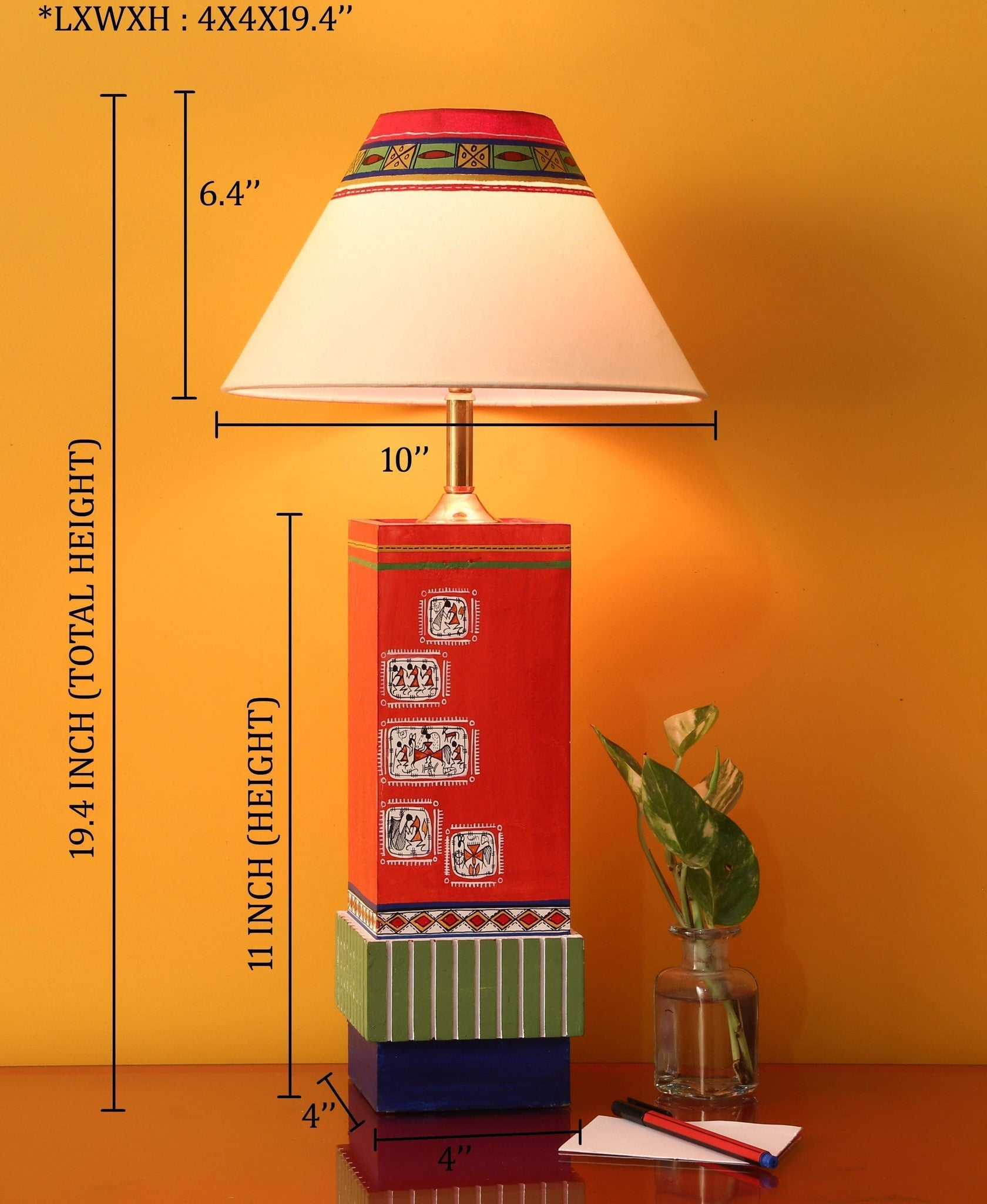 Multi Colored Hand Crafted Table Lamps With Shade For Bedroom