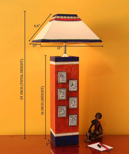 Hand-Painted Table Lamp in Wooden With Shade