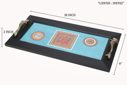 Blue Rectangle Wooden Tray With Dhokra And Warli Art Work
