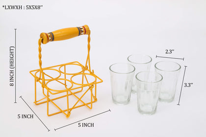 Cutting Chai Glasses with Stand/Set of 4 Transparent Glass with Stand | Tableware | Home Decor Items