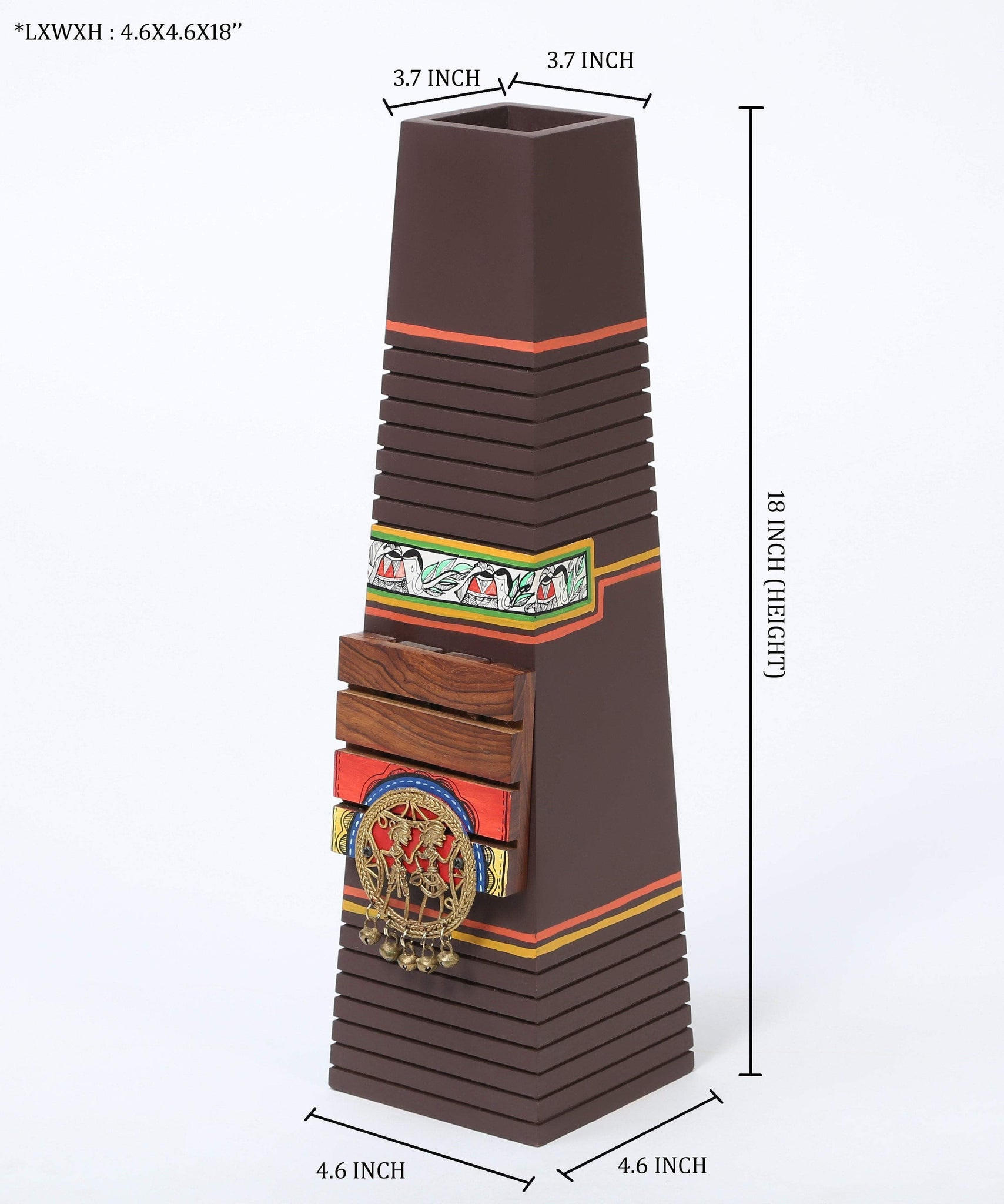 Wooden Flower Vase With Madhubani And Dhokra Art