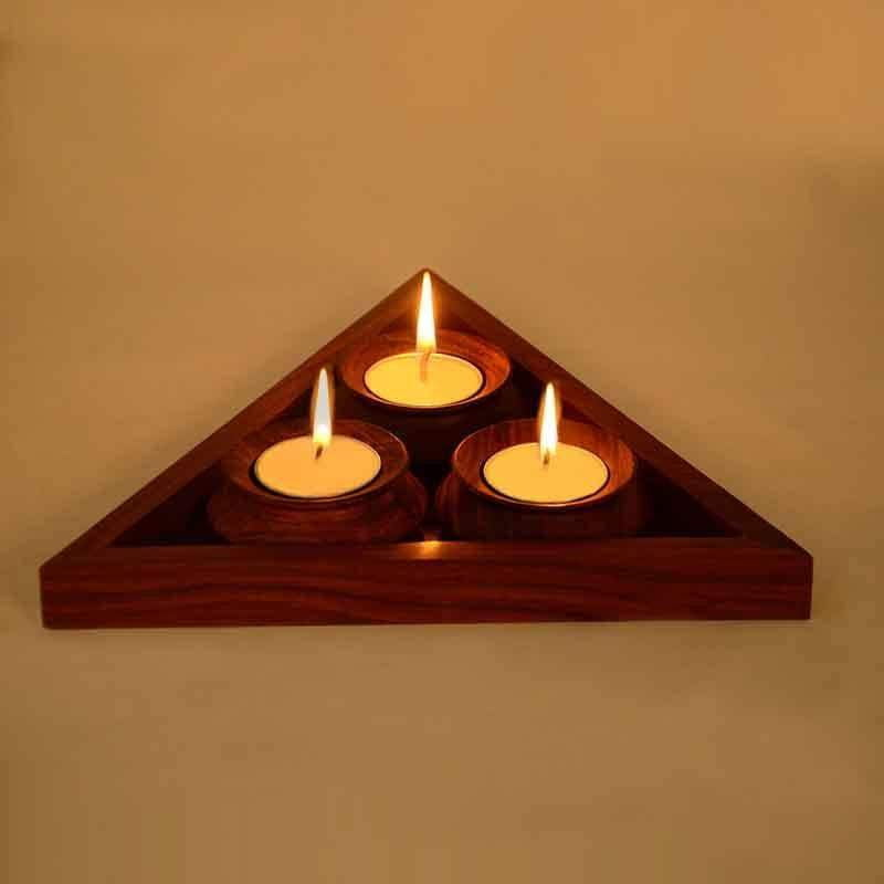 Handcrafted Wooden Table Top Tea Light Holders
