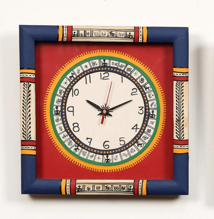 Multi Colored Handcrafted Unique Wooden Wall Clock With Warli Art
