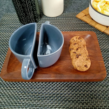 Grey Ceramic Half Tea Cups Cum Coffee Mugs With Wooden Tray