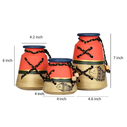 Set Of 3 Decorative Knitted Terracotta Vases With Madhubani Art