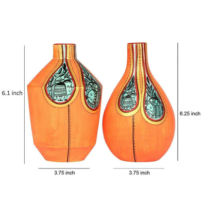 Set Of 2 Orange Handcrafted Terracotta Decorative Vases