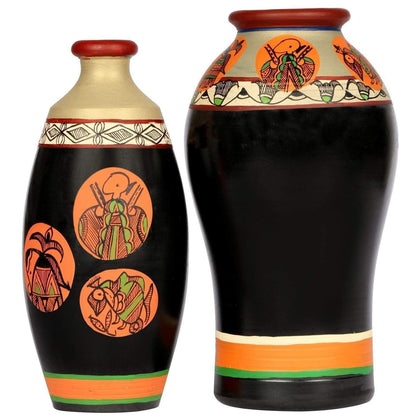 Set Of 2 Handcrafted Terracotta Vases With Madhubani Painting