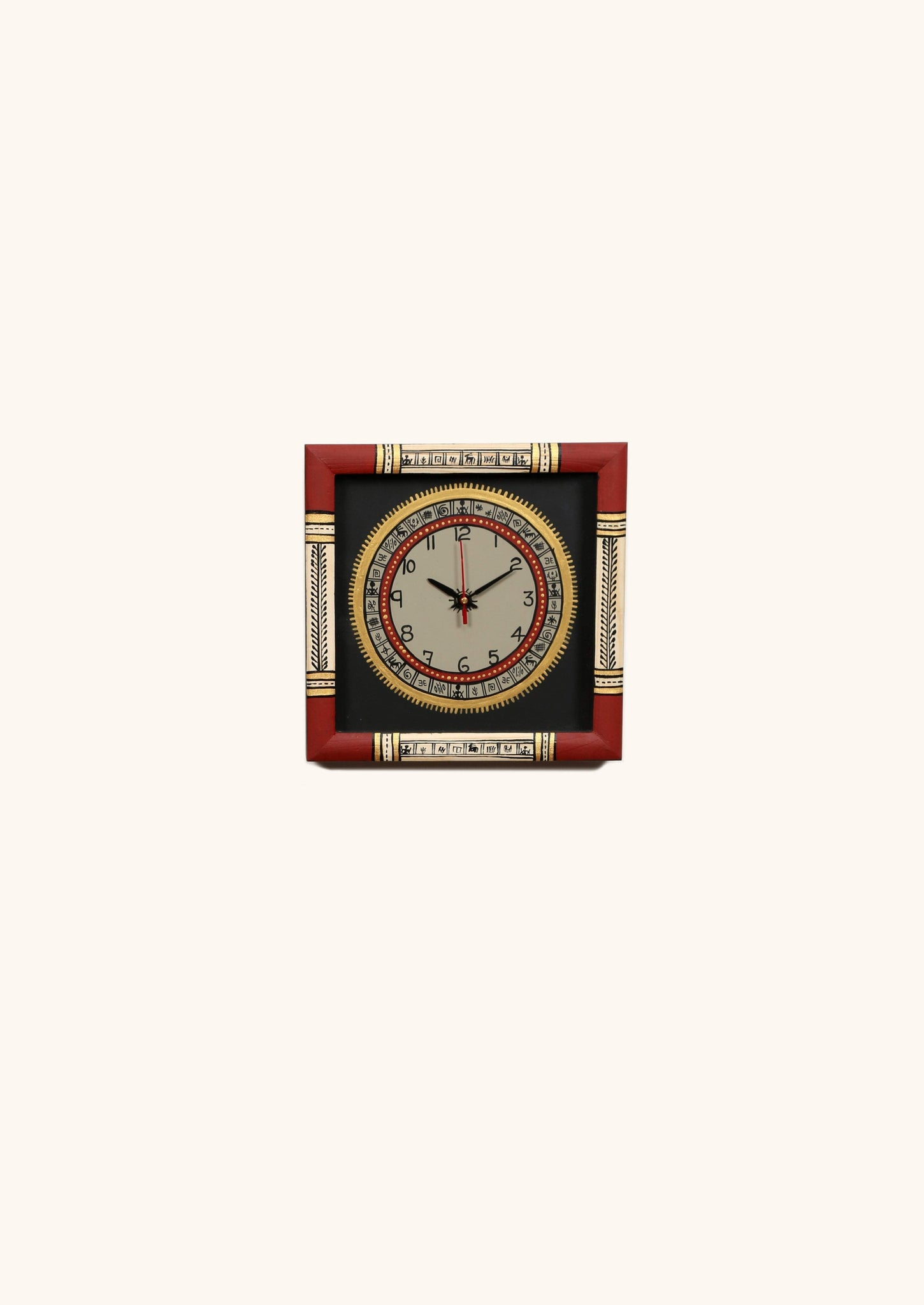 Wooden Hand Painted Red And Black Wall Clock With Warli Art