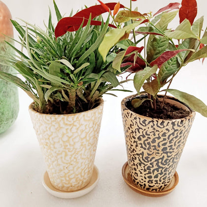 Handmade Ceramic Indoor Flower Pots For Garden Set of 4