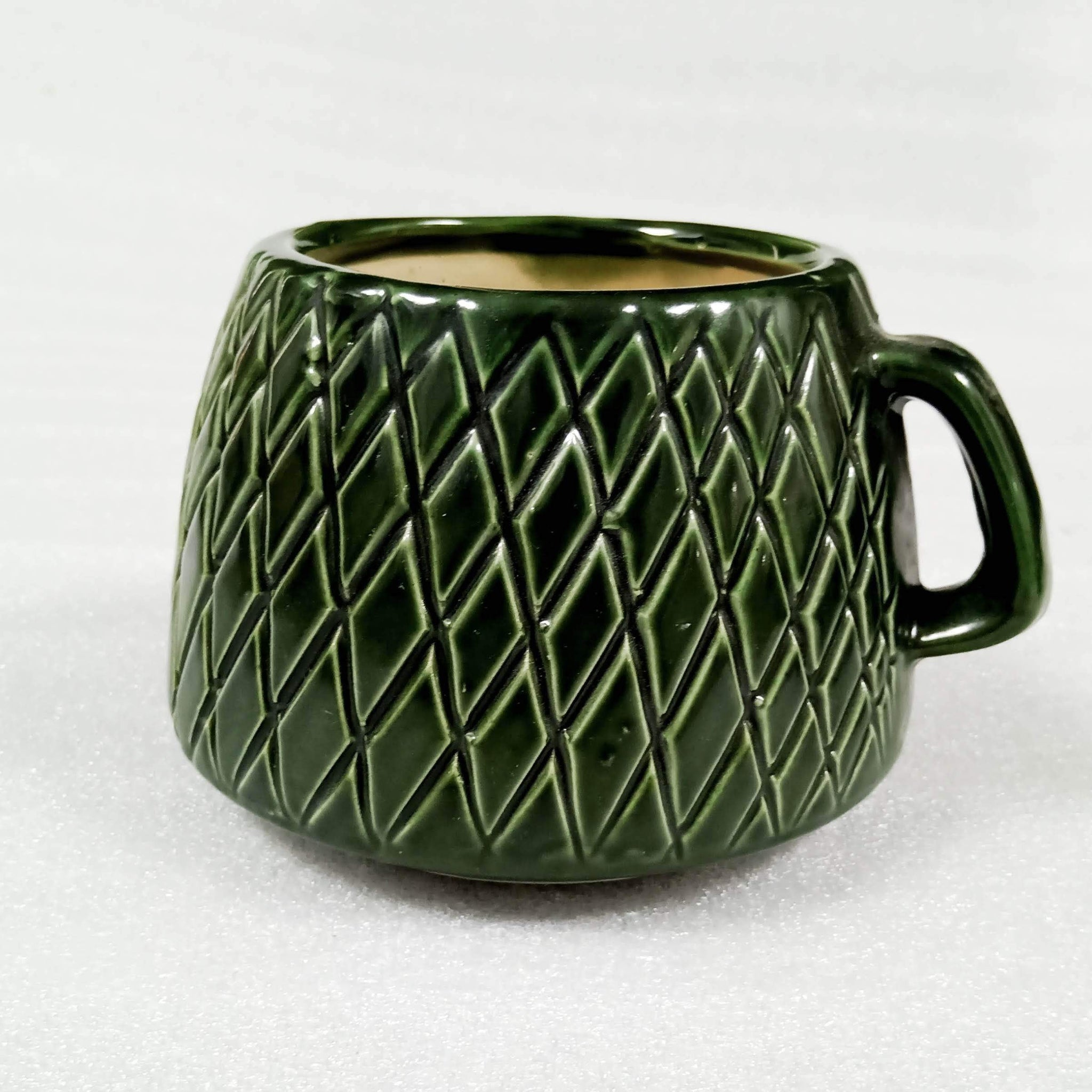 Cup Shaped Green Indoor Ceramic Planter