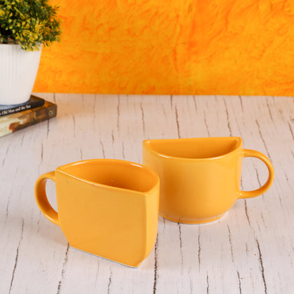 Yellow Ceramic Coffee Mug Cum Half Tea Cups With Sheesham Tray