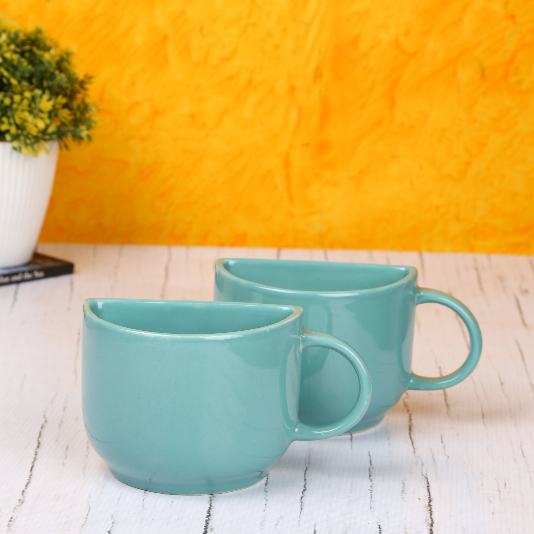 Ceramic Half Coffee Mugs With Wooden Serving Tray