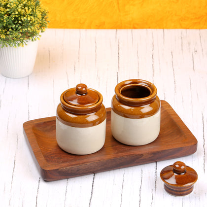Ceramic Storage Jar With Lids And Wooden Tray