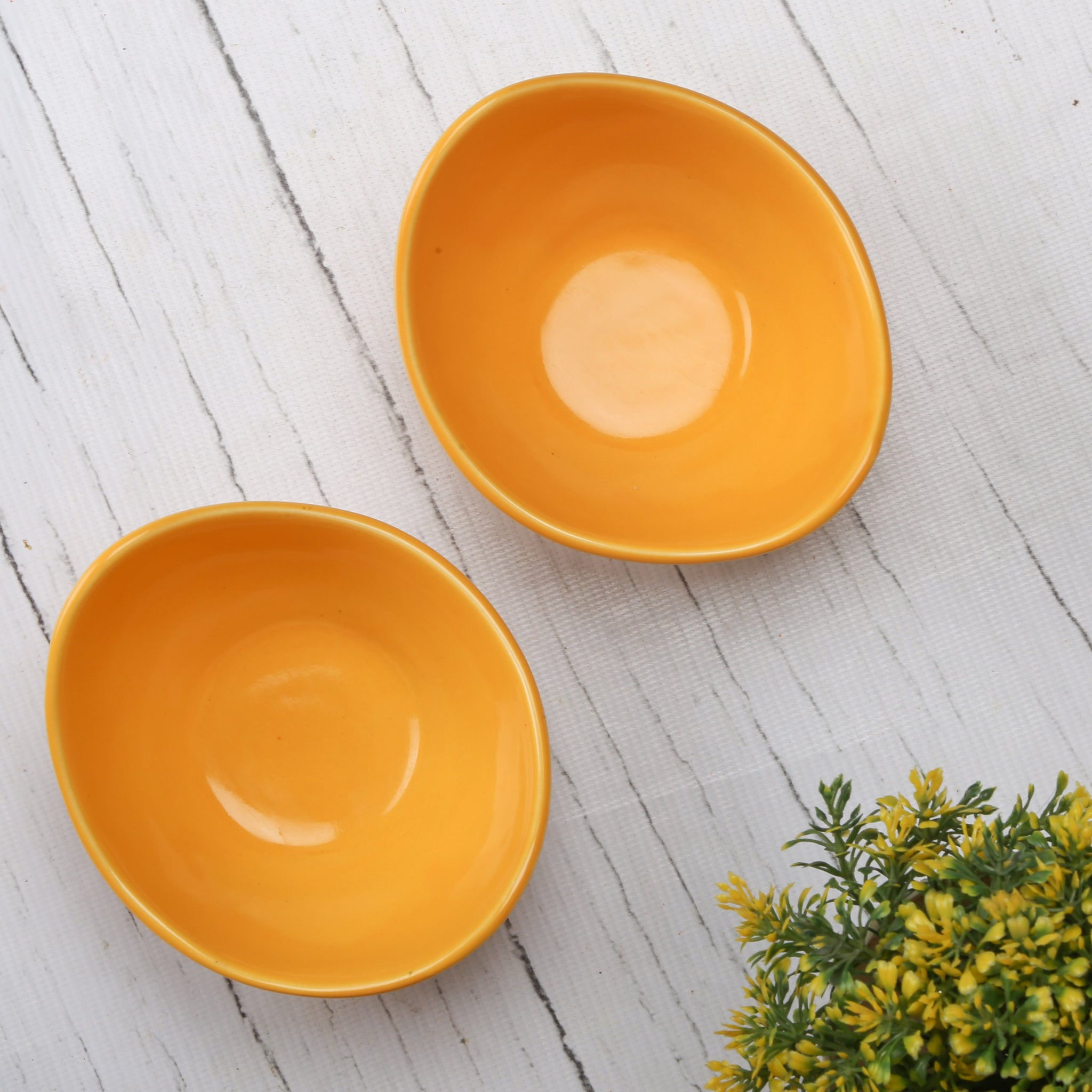 Yellow Ceramic Bowls With Wooden Serving Tray