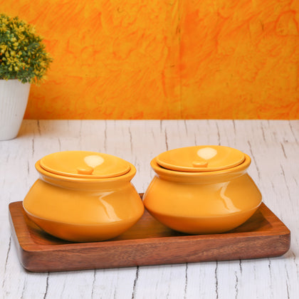 Yellow Ceramic Bowls With Lids And Wooden Tray