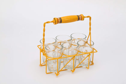 Metal Stand With Six Tea Glasses