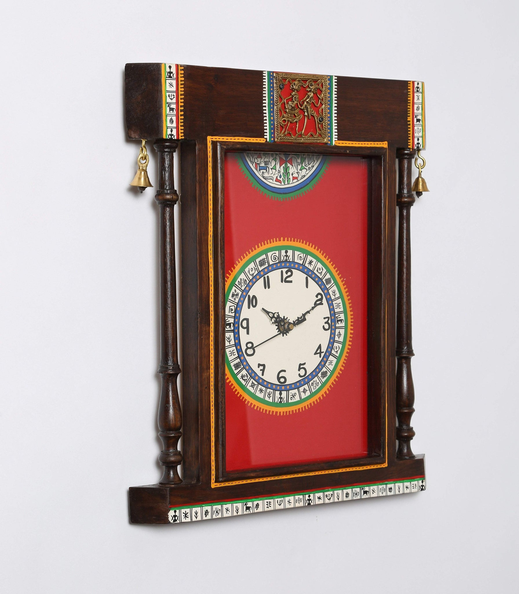 Wooden Handcrafted Antique Wall Clock With Warli Art
