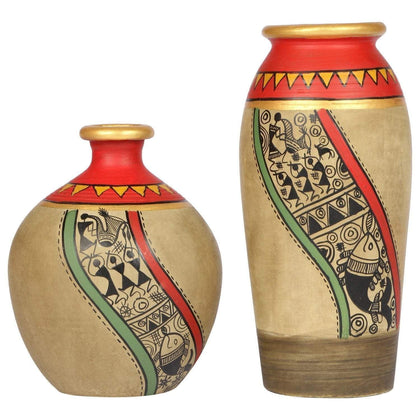 IndiaSupply Handcrafted Earthen Terracotta Warli Painting Flower Vase for Home Décor| Flower Vase Living Room| Small Vases for Table