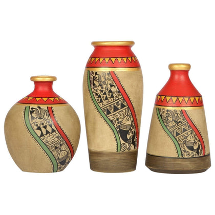 IndiaSupply Terracotta Round Vase - Table Top Decorative Vases Flower Vase Flower Pots Home Decorative Items Flower Vases for Living Room| Small Pots