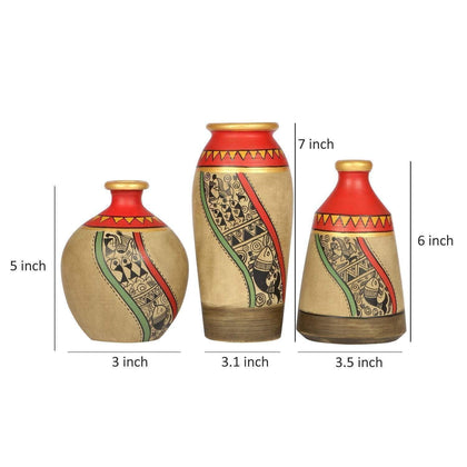 Set Of 3 Beige Terracotta Decorative Vases With Madhubani Art