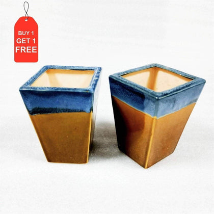 Ceramic Indoor Trapeze Planter | Handmade Pot Planter For Home BOGO
