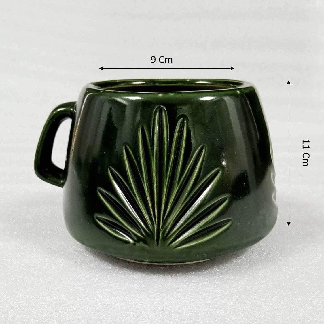 Green Cup Shaped Ceramic Modern Planter