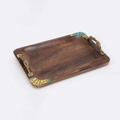 Rectangle Brown Wooden Tray With Antique Touch