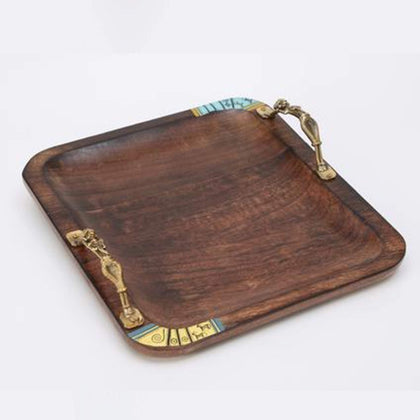Square Brown Wooden Tray With  Brass Handles
