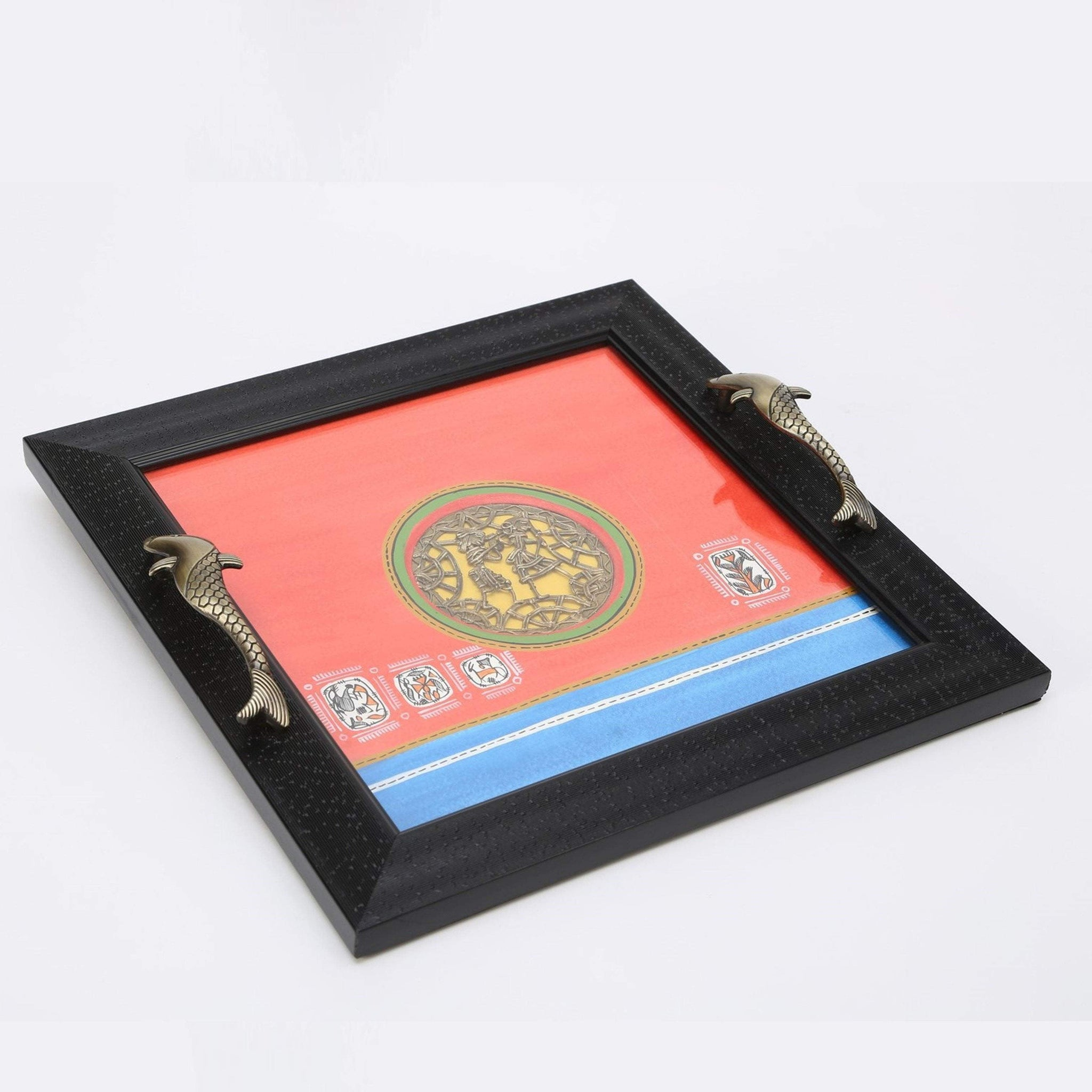 Hand Painted Decorative Wooden Tray With Antique Touch