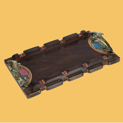 Hand Crafted Rectangle Decorative Wooden Tray for Table With Brass Handle