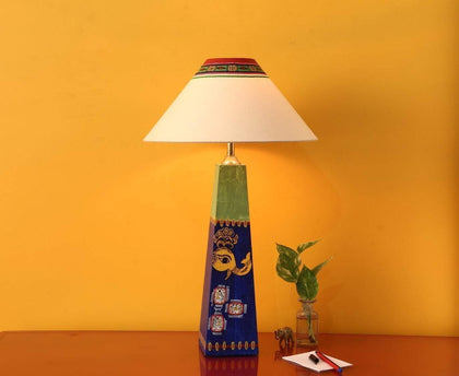 Wooden Modern Table Lamps With Madhubani Art