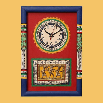 IndiaSupply Handcrafted Traditional Wooden Wall Clock for Living Room