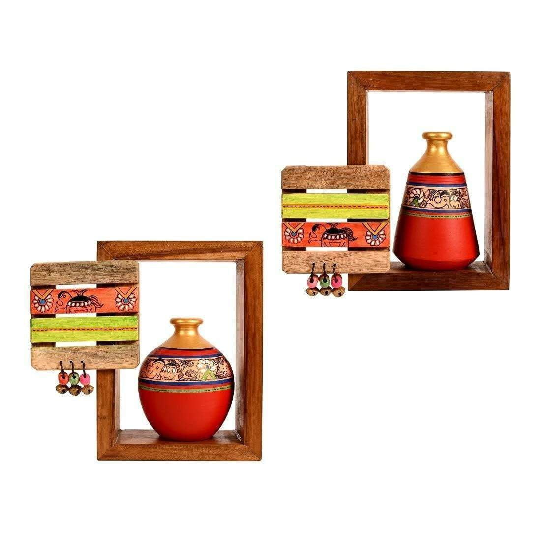 Madhubani Decorative Wooden Wall Mounted Shelves With Red Terracotta Pots