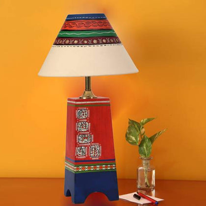 Multi Colored Wooden Table Lamp With Shade