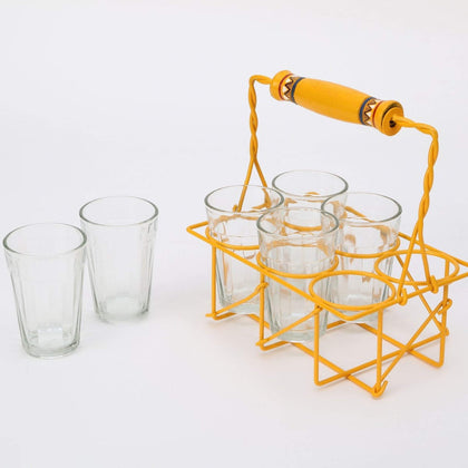 IndiaSupply Cutting Chai Glasses with Stand/Set of 6 Transparent Glass with Stand)