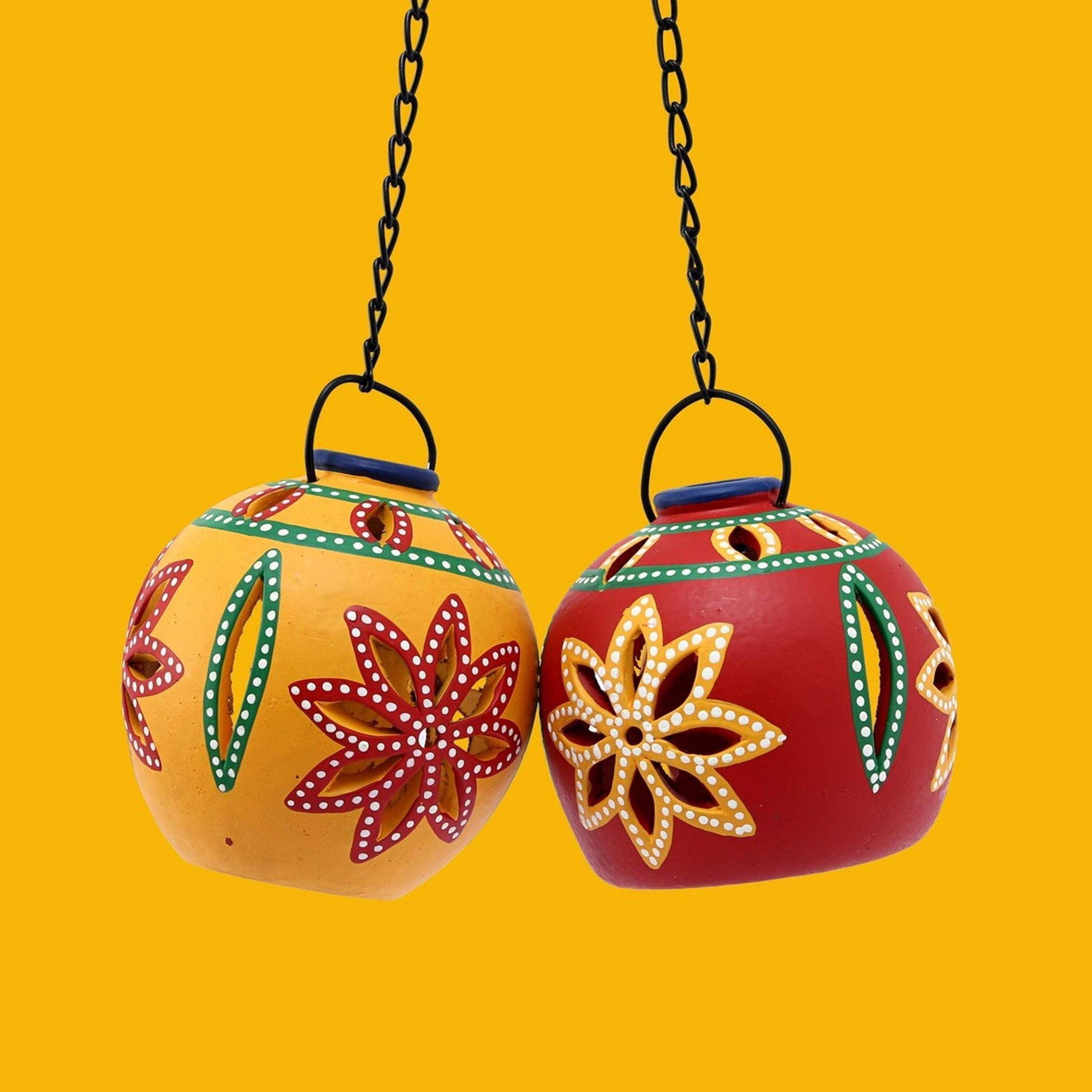 Decorative Red Yellow Pendant Tea Light Candle Holder Set of 2