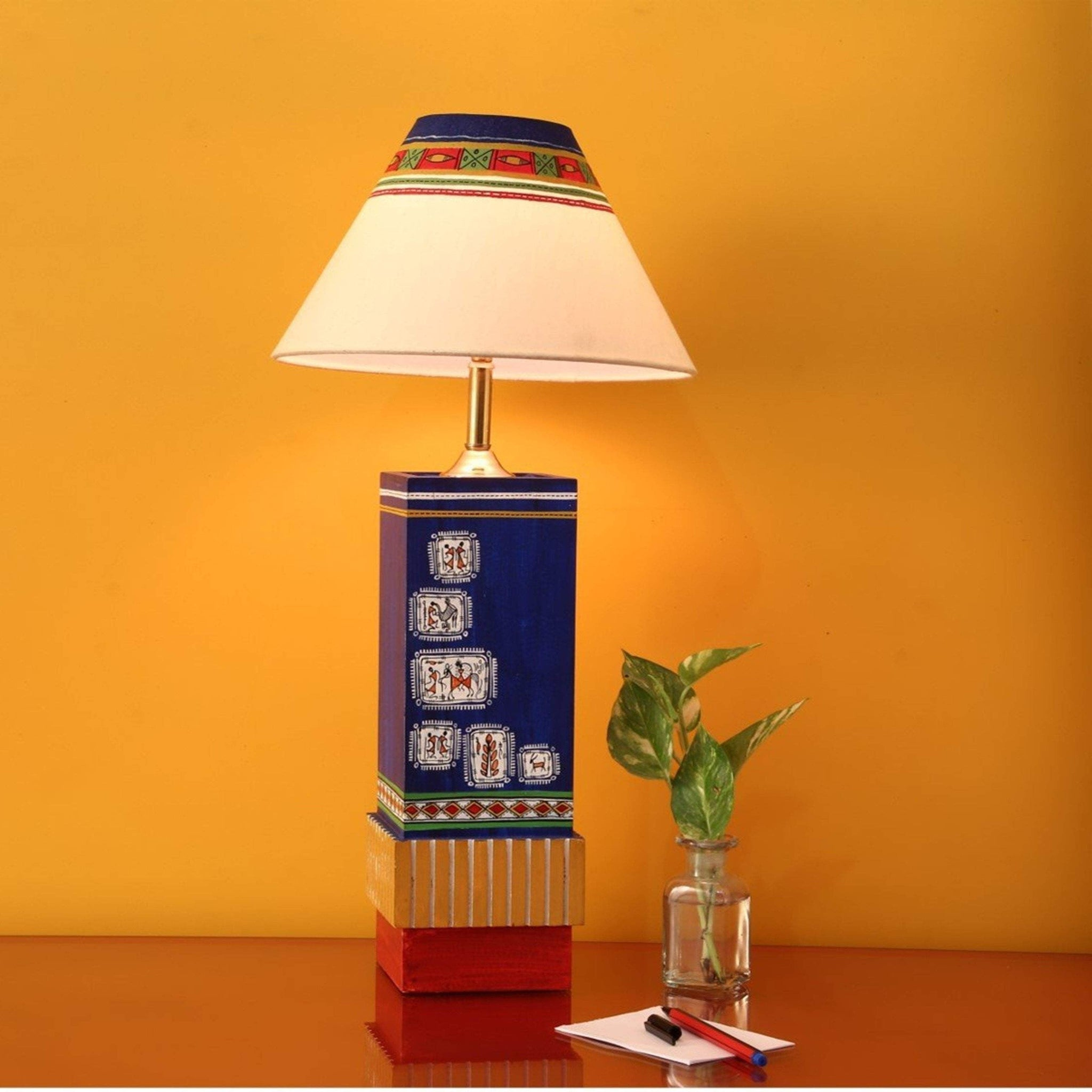 Multi Colored Modern Wooden Table Lamp With Shade