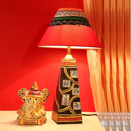 Hand-Painted Wooden Decorative Table Lamps For Living Room